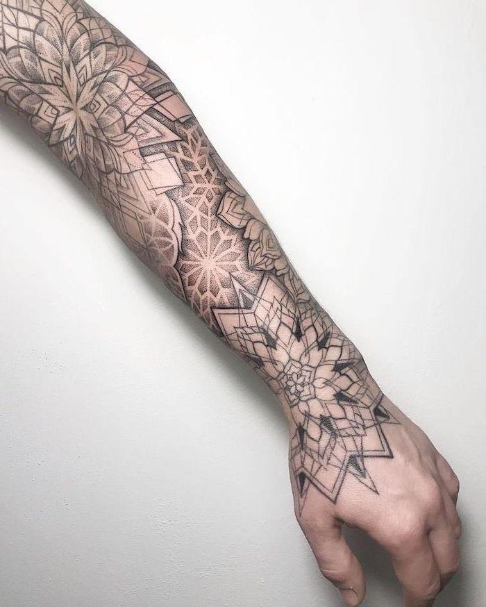 sleeve tattoo, white background, what does mandala mean