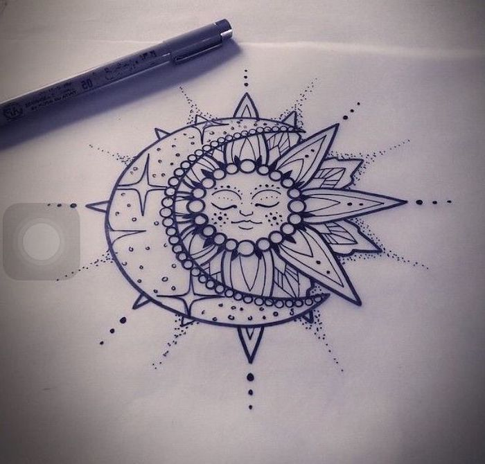 sun and moon drawing, black and white sketch, mandala back tattoo, white background