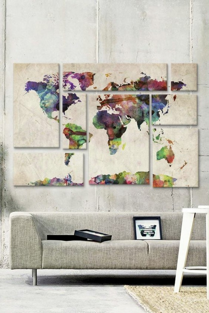 separate canvases, forming the map of the world, big wall decor, hanging over a grey sofa