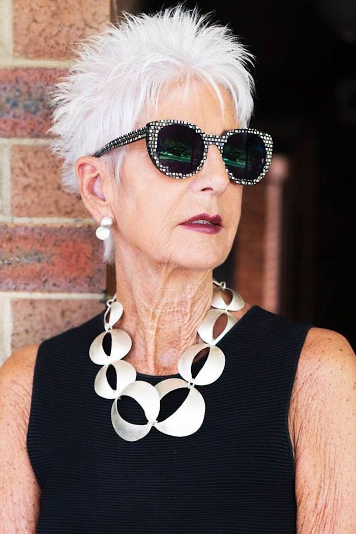 white hair, pixie cut, large sunglasses, hairdos for short hair, black top, large necklace