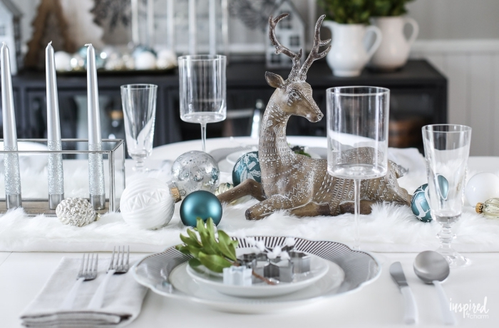 ceramic deer figurine, colourful baubles, dining room centerpieces, grey candles, table settings