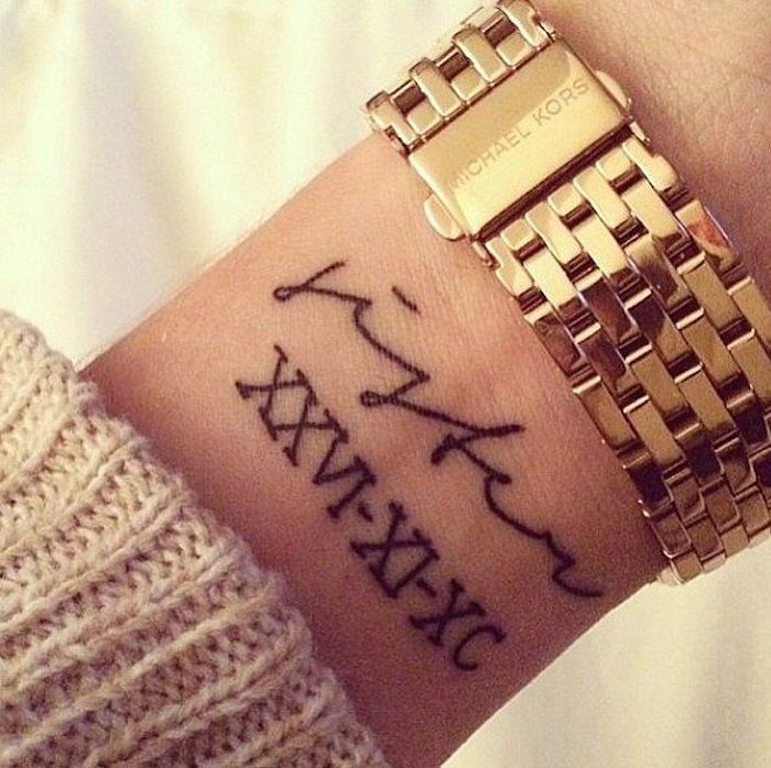 side arm tattoos, golden michael kors watch, wrist tattoo, white background