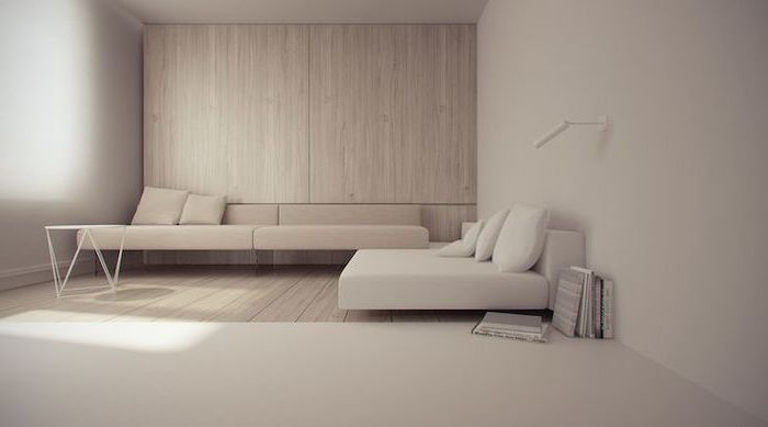 minimalist design, small living room layout, wooden wall, white and beige sofas, metal coffee table
