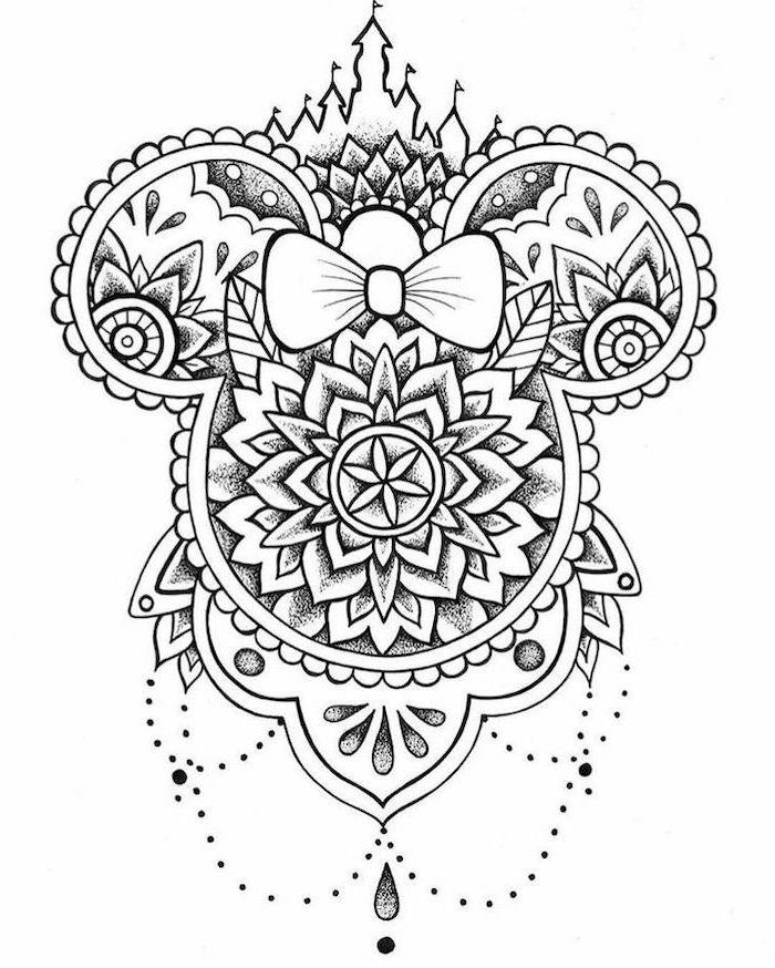 minnie mouse, black and white sketch, mandala back tattoo, white background