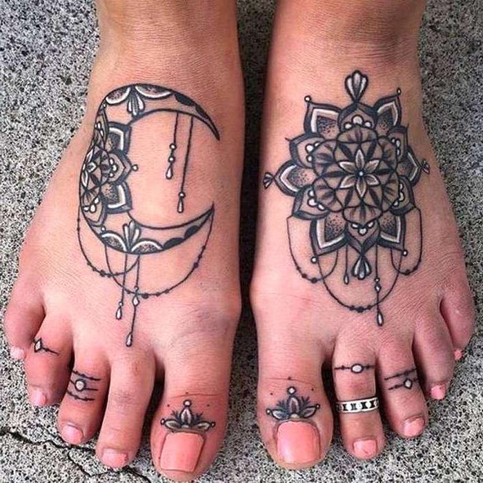 leg tattoos, on both legs, mandala back tattoo, cement street