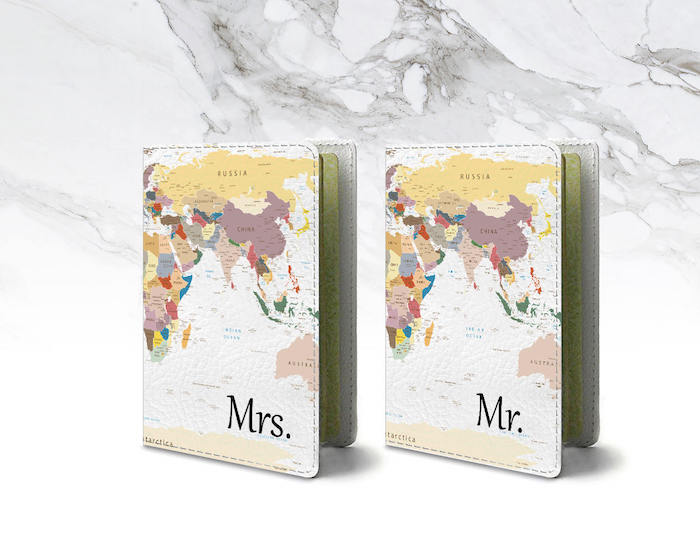 mrs and mr, his and hers, passport covers, great housewarming gifts, map of the worls