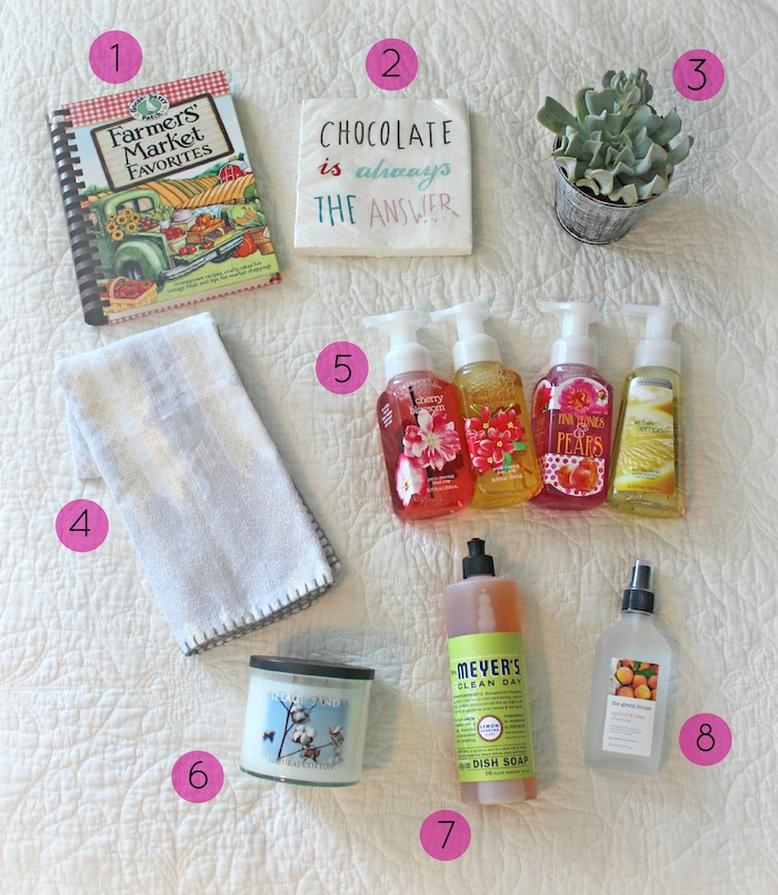 ingredients for diy gift basket, gifts for new homeowners, white background