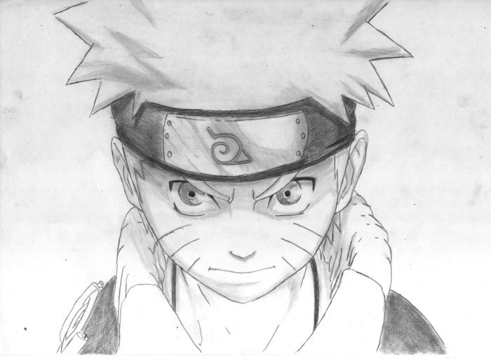 naruto portrait, white and black, pencil sketch, what should i draw