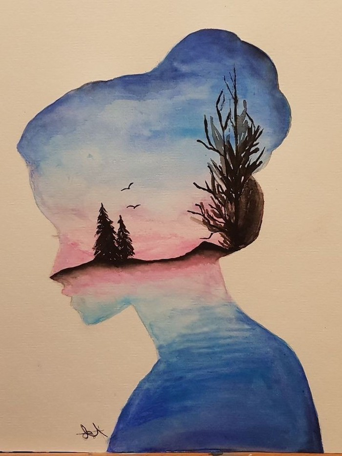 things to draw when your bored, nature landscape, female silhouette, watercolour painting, cool pictures to draw for beginners