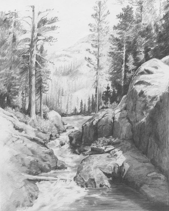 what should i draw, nature landscape, running river, trees and rocks around it, mountain backgorund