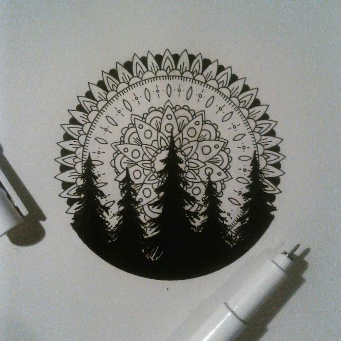 mandala sleeve, nature landscape, black and white sketch, white background