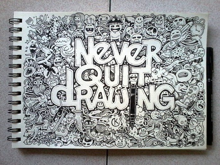 never quit drawing, doodle art, things to draw when your bored, black and white, pencil sketch
