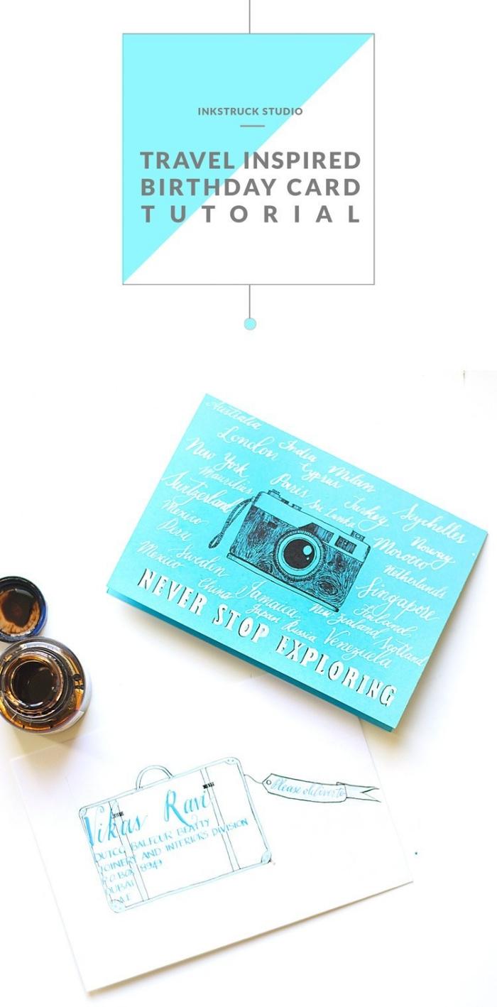 travel inspired, birthday card, step by step, diy tutorial, cute birthday cards, blue card stock