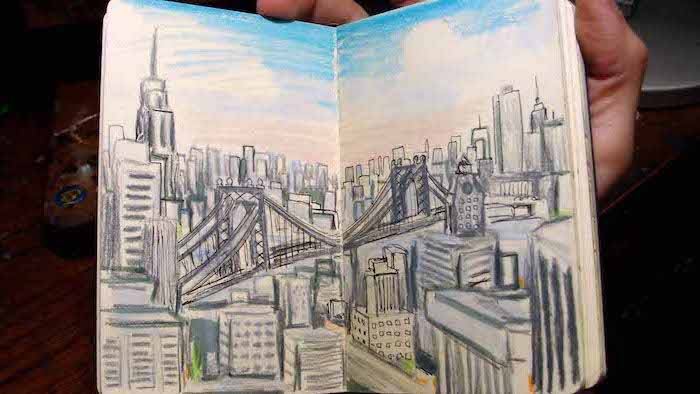 new york city skyline, things to draw when your bored, blue skies, brooklyn bridge, empire state building