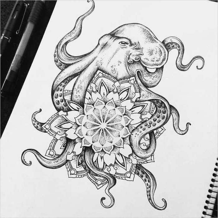 black and white, octopus drawing, white background, mandala meaning
