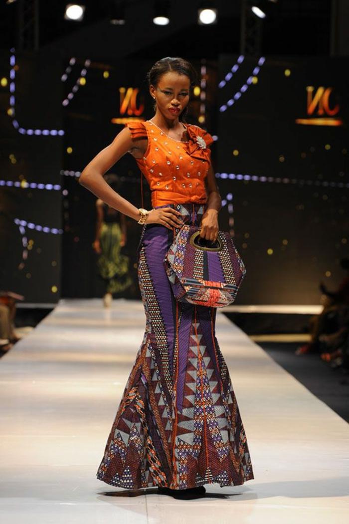 orange top, printed bottom, long dress, printed bag, african attire dresses, white runway