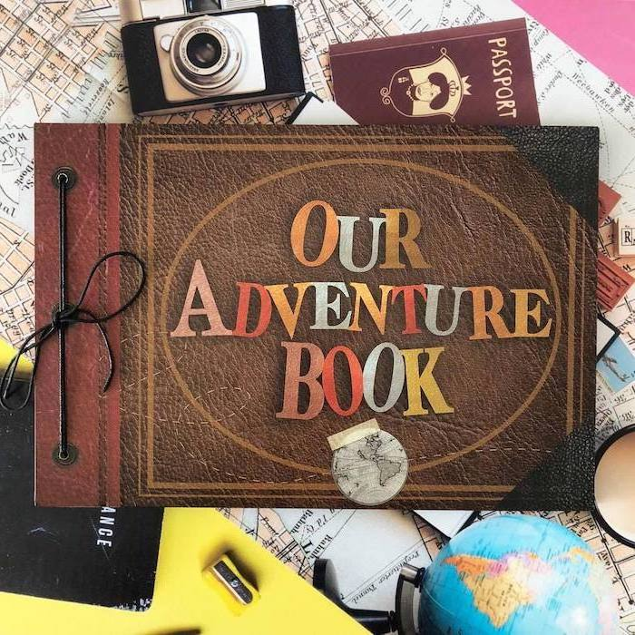 great housewarming gifts, our adventure book, travel journal, made of leather, inspired by the movie up
