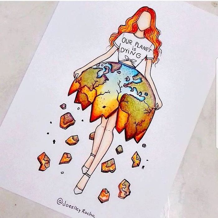 easy drawings step by step, our planet is dying t shirt, coloured sketch, of a woman, with long red hair