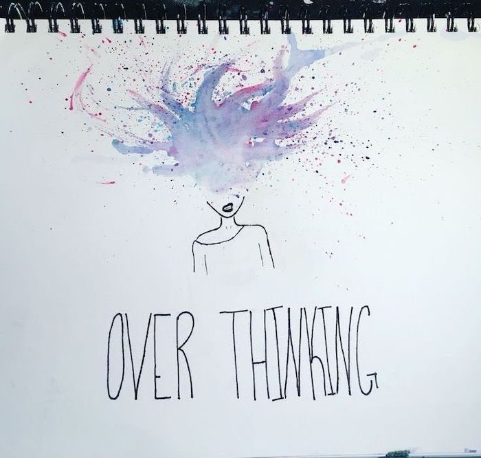 brain exploding, over thinking, watercolour drawing, things to draw when your bored, white background
