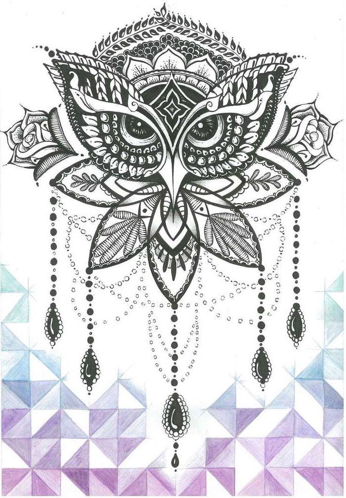 owl drawing, mandala sleeve, black and white sketch white background