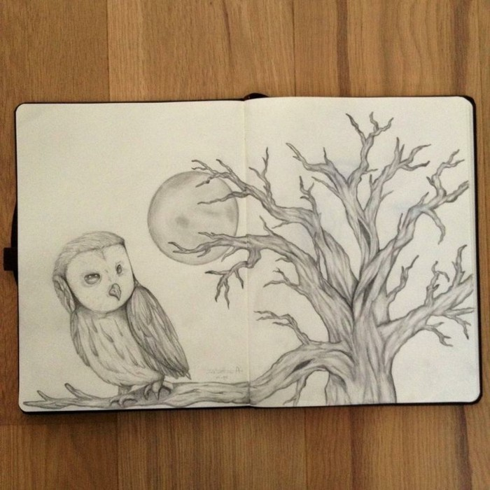 owl standing on a tree branch, moon behind it, black and white, pencil sketch, easy things to draw