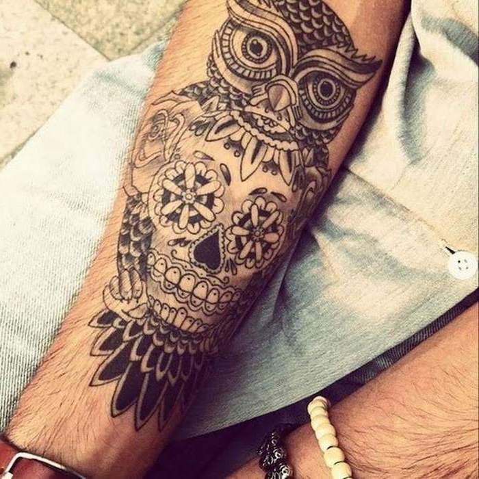 owl and skull, forearm tattoo, mandala sleeve, denim shirt