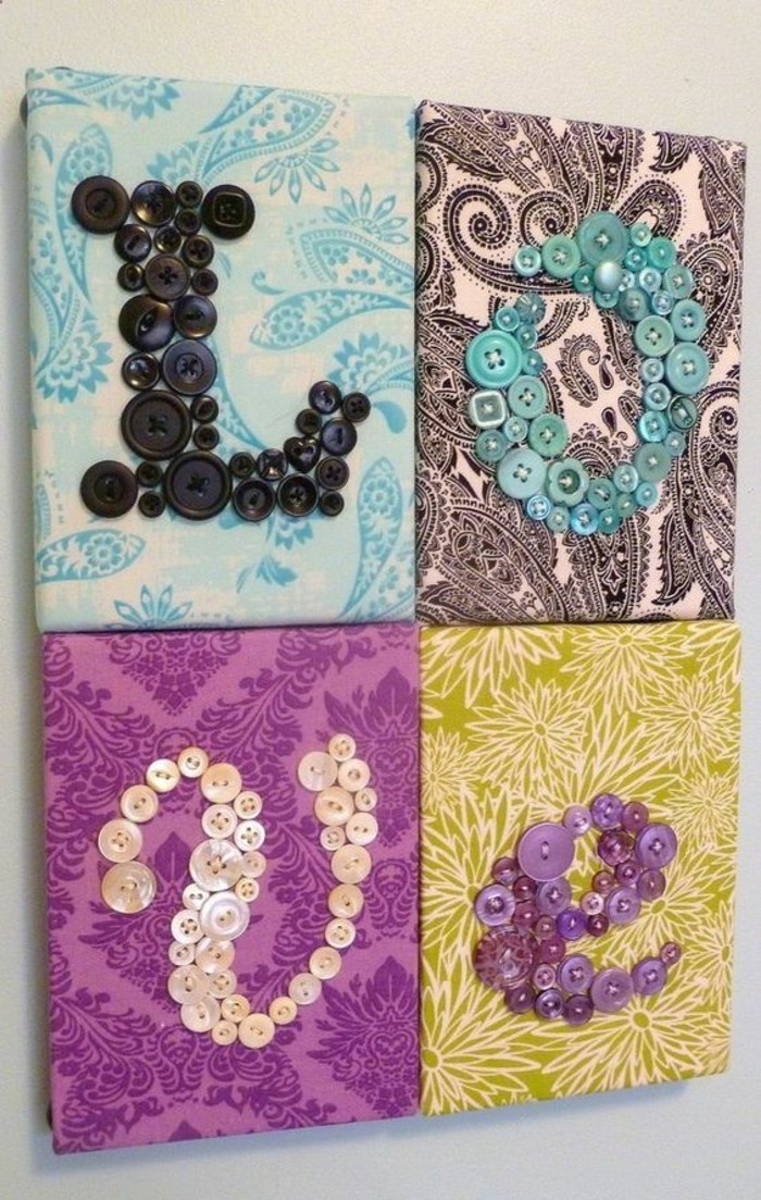 different patterned canvases, arranged together, letters made with buttons, diy decor ideas fro bedroom