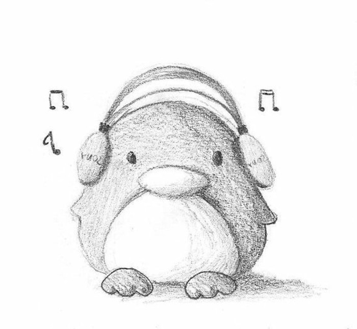 little penguin, listening to music, learn to draw with a pencil, black and white, pencil sketch