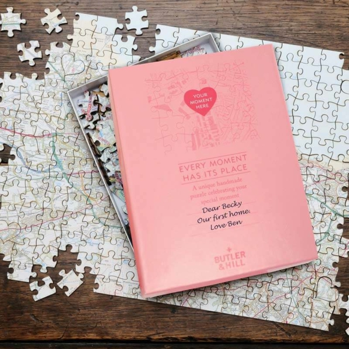jigsaw puzzle, map of the new home, great housewarming gifts, wooden table