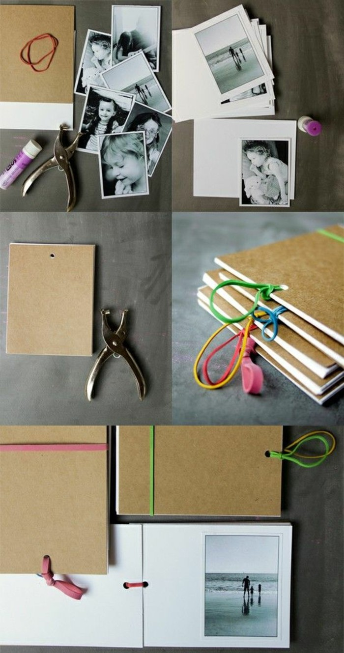 cute gift ideas for boyfriend, family photo album, step by step, diy tutorial, black and white photos
