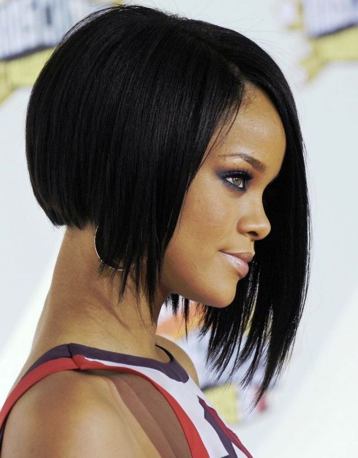 rihanna with black hair, asymmetrical haistyles, short to mid length hairstyles, purple red and white top
