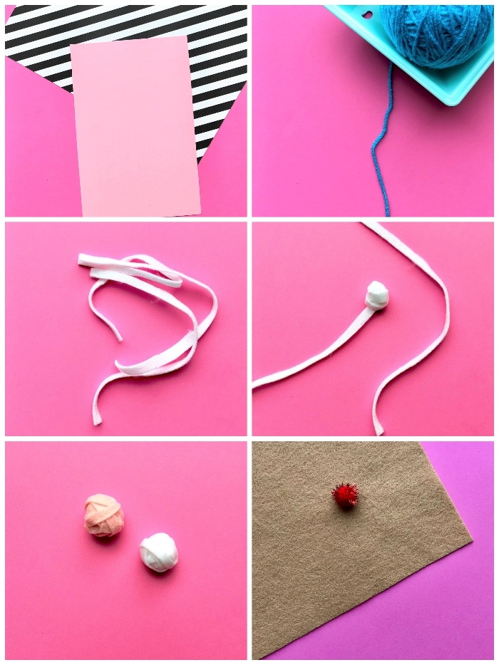 pink and white yarn, pink card stock, handmade birthday cards, pink background, blue yarn