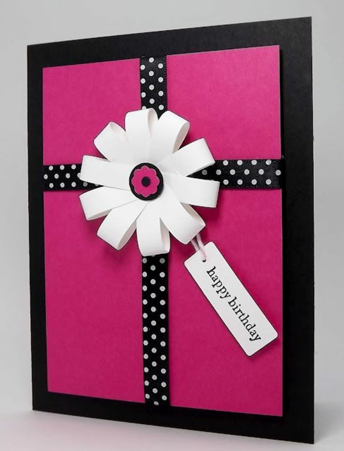 black and pink card stock, black ribbon, with white dots, what to write in a birthday card funny, white flower