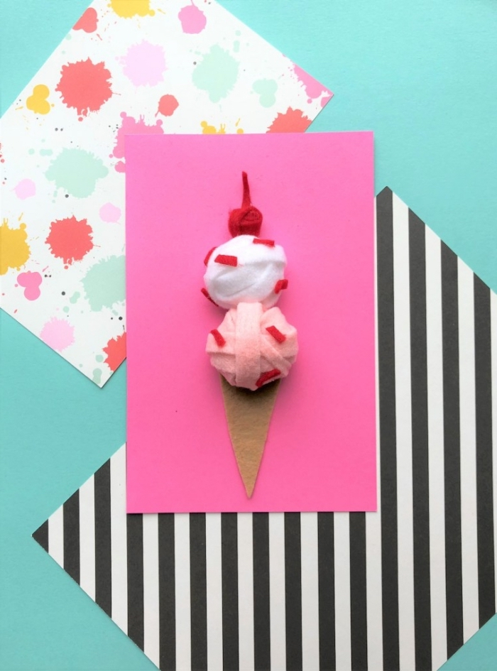 handmade birthday cards, ice cream cone, made with yarn, pink card stock, turquoise background