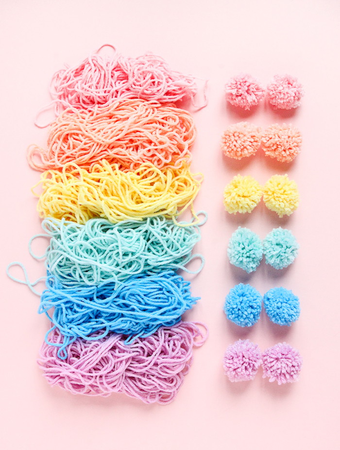 colourful yarn, cute gifts for boyfriend, colourful pom poms, pink background, step by step, diy tutorial