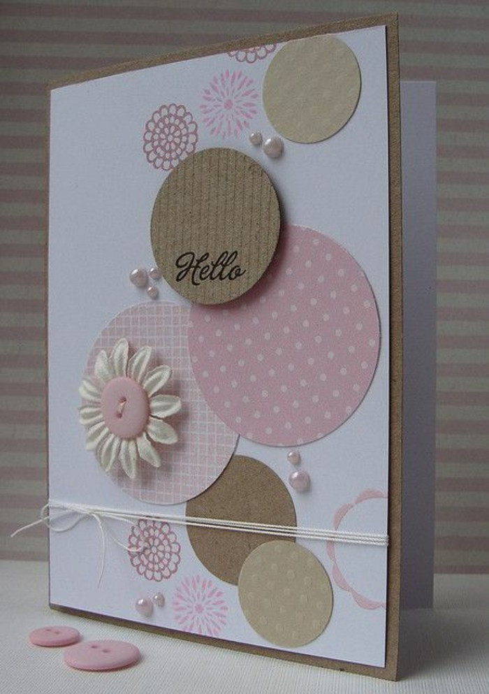 white card stock, what to write in a birthday card funny, pink circles, white flower, pink buttons