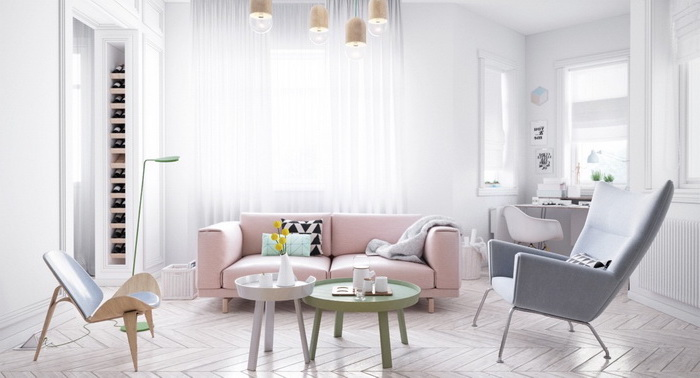 small living room ideas, pink sofa, light purple armchair, wooden floor, green and white, small coffee tables