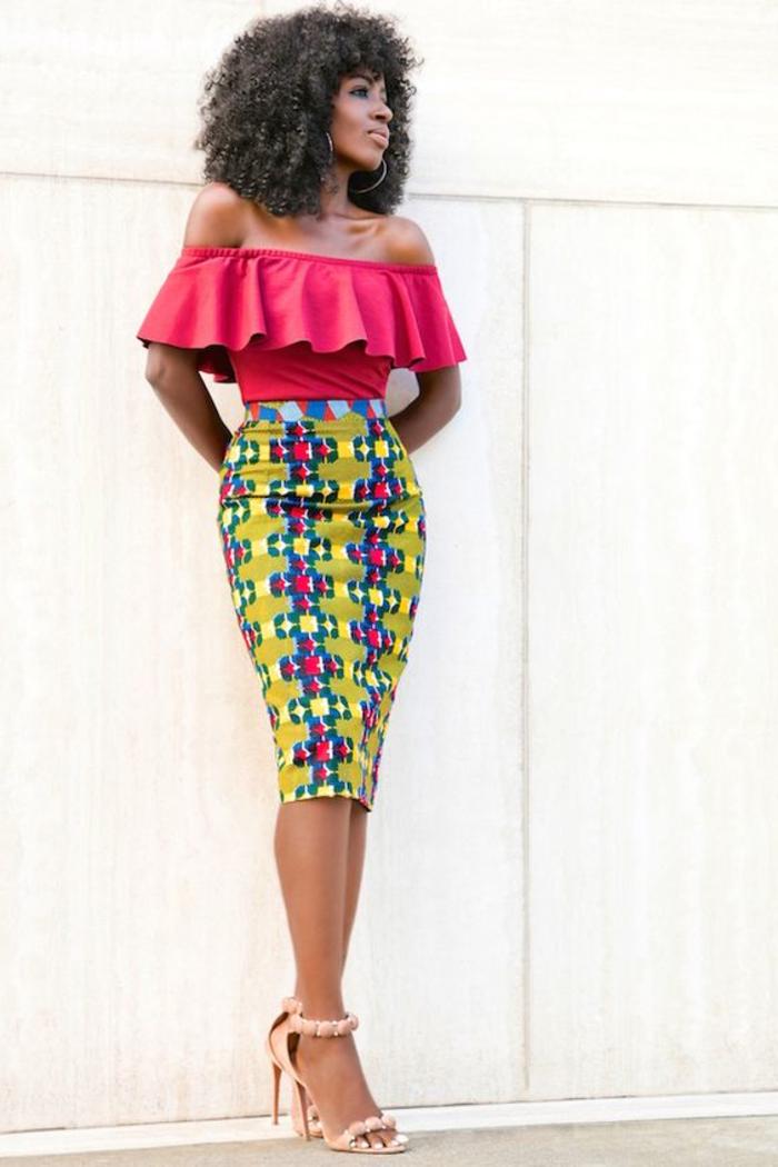 pink top, bare shoulders, mid length skirt, african attire dresses, pink high heel sandals