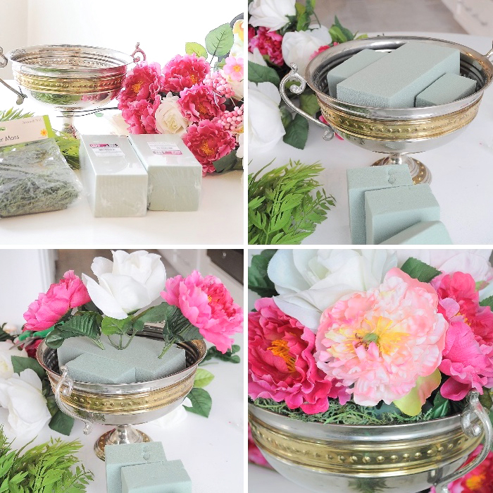table centerpieces, step by step ,diy tutorial, pink and white, flower bouquet, styrofoam inside a bowl