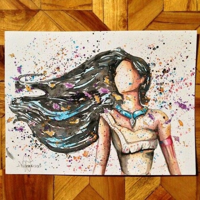 pocahontas watercolour painting, long black hair, cool things to draw, flowers in her hair, white background