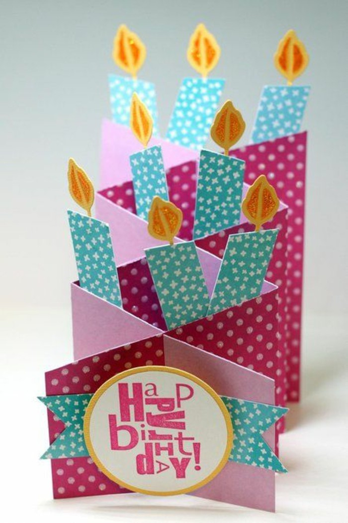 what to write in a birthday card funny, pop up card, pink card stock, blue candles, with white stars