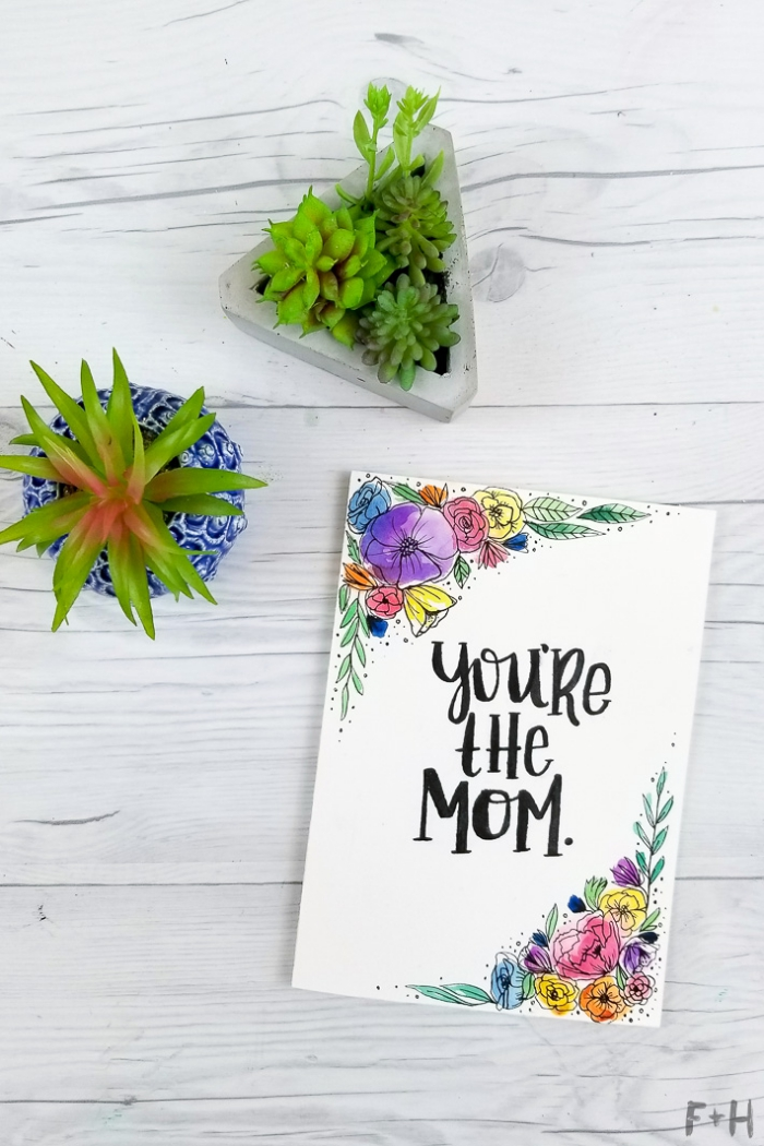 potted succulents, you're the mom, greeting card, funny birthday cards, white wooden table