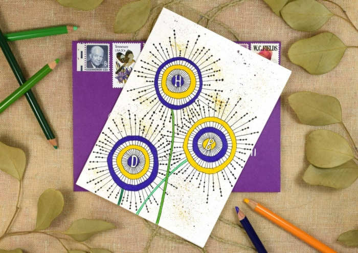 purple and yellow circles, in the shape of flowers, birthday greeting cards, purple envelope