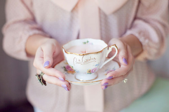 housewarming gifts for men, vintage teacup candles, diy tutorial, step by step, purple nail polish