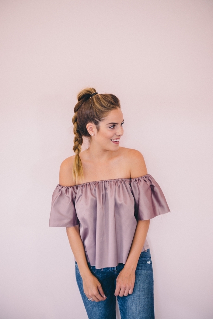 girl wearing a purple satin top and jeans, brown hair, with highlights, in a high braided ponytail, bridesmaid updos