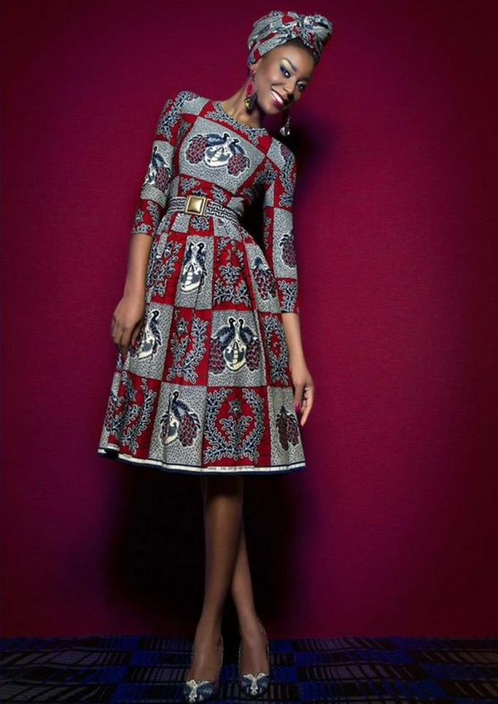 mid length dress, printed headscarf, african formal dresses, red background