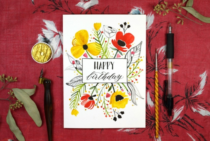 red background, gold paint, homemade birthday cards, white card stock, red and yellow flowers