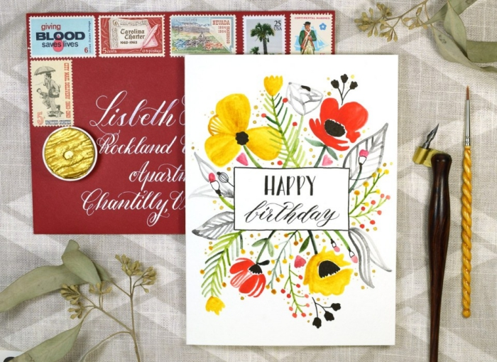 yellow and red flowers, red envelope, birthday greeting cards, white card stock, grey background