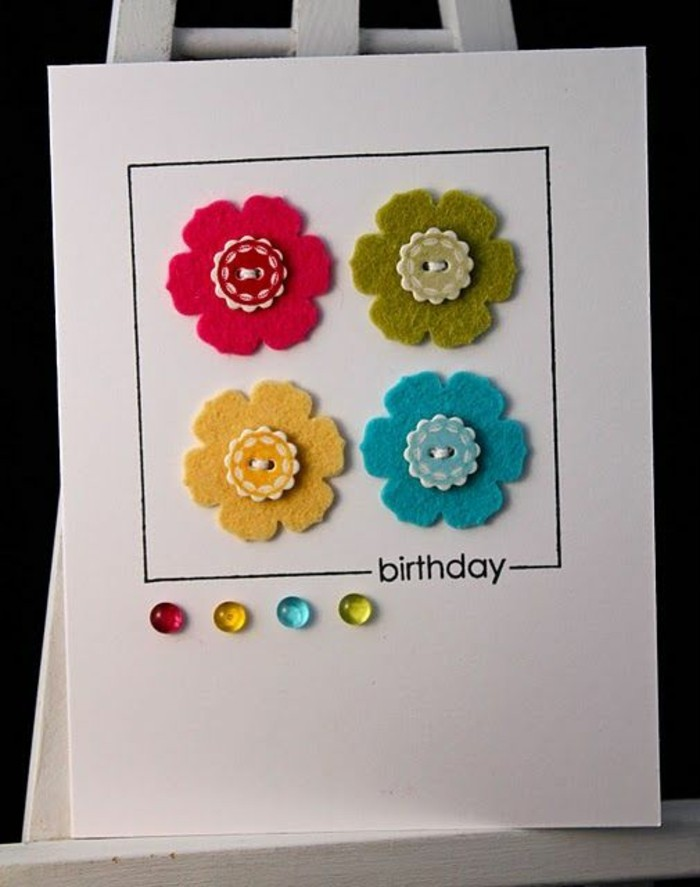 red and green, yellow and blue, flowers and beads, on white card stock, what to write in a birthday card funny