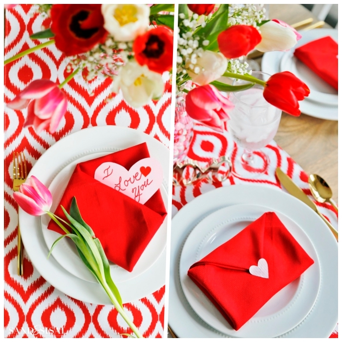 red and white table runner, red cotton napkin, in the shape of an envelope, fall table decorations
